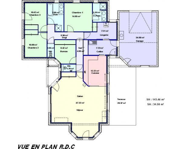 Les projets l 39 for Plan de maison type